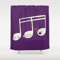 key Shower Curtains featuring Sounds O.K. (off key) by Picomodi