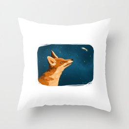 Fox and Stars Throw Pillow