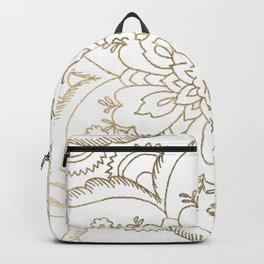 Chic elegant white faux gold spiritual floral mandala Backpack