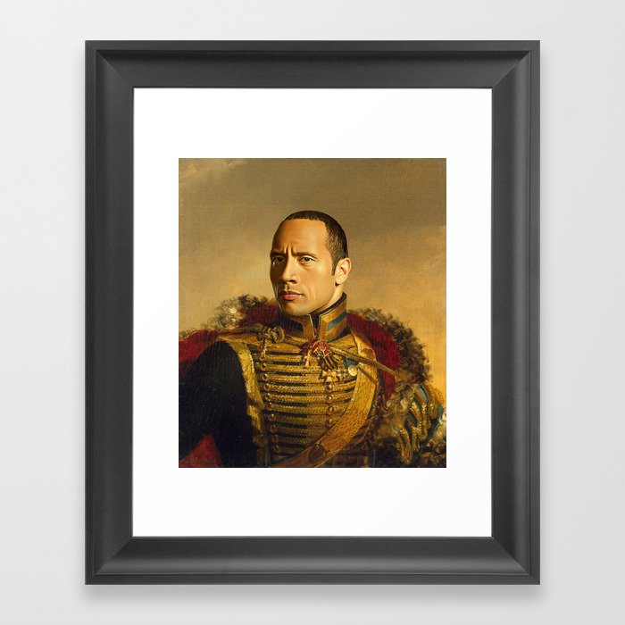 Dwayne (The Rock) Johnson - replaceface Framed Art Print