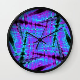 Purple and blue psychedelic pattern Wall Clock