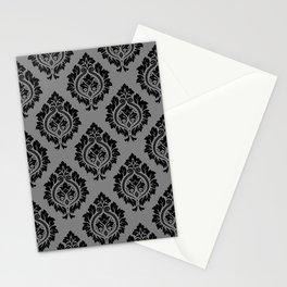 Decorative Damask Pattern Black on Gray Stationery Cards