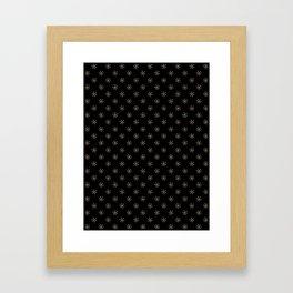 Tan Brown on Black Snowflakes Framed Art Print
