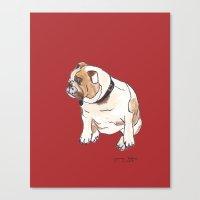english bulldog Canvas Prints featuring English Bulldog by Tammy Kushnir