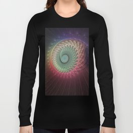 Abstract And Colorful Snail, Fractal Art Long Sleeve T-shirt