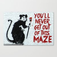 phish Canvas Prints featuring Banksy Phish Rat by tweezburger