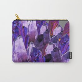 PURPLE AMETHYST CRYSTALS GREY ART Carry-All Pouch