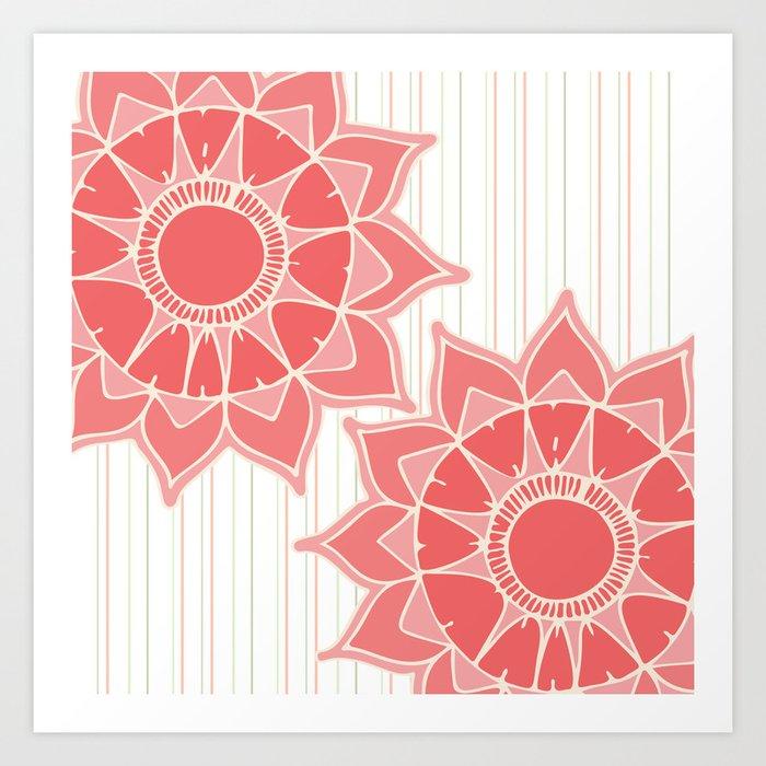 Pastel Color Coral Pink Floral Mandala Stripes Art Print By