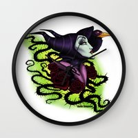 maleficent Wall Clocks featuring Maleficent by Katie Simpson a.k.a. Redhead-K