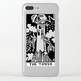 Modern Tarot Design - 16 The Tower Clear iPhone Case