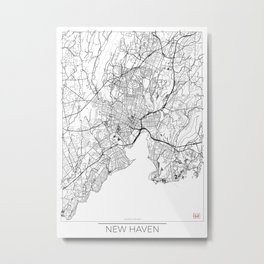 New Haven Map White Metal Print