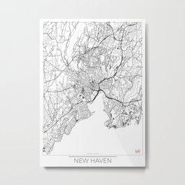 New Haven Map White Metal Print