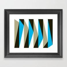 Blue Geometric Triangle Pattern Framed Art Print