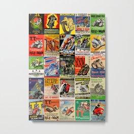 Vintage Motorcycle Race Posters Metal Print