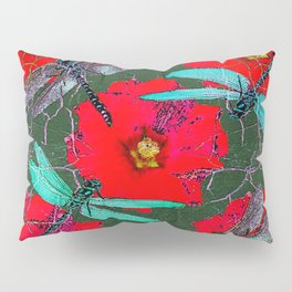 ANTIQUE CRACKLED  BLUE DRAGONFLIES ON RED HOLLYHOCK FLOWERS Pillow Sham