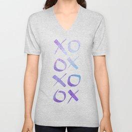 xoxo Watercolor Blue Purple Unisex V-Neck