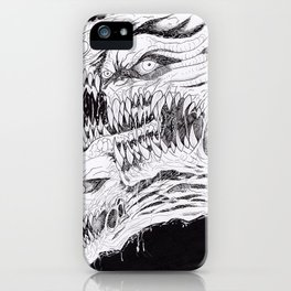 Black And White Demons Artwork iPhone Case