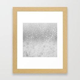 White Marble Silver Ombre Glitter Glam #1 #shiny #gem #decor #art #society6 Framed Art Print