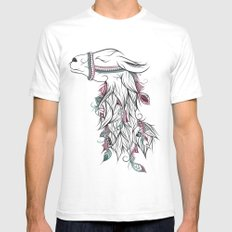 Llama SMALL Mens Fitted Tee White