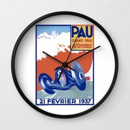 1937 PAU Grand Prix Automobile Race Poster Wall Clock