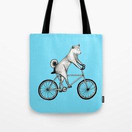 Shiba Inu Riding a Bicycle Tote Bag