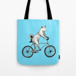 Shiba Inu Riding a Bicycle Tote Bag