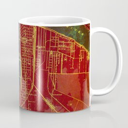 09-New Orleans Louisiana 1932, red and blue old map Coffee Mug