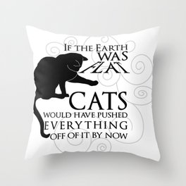 Cats on the Flat Earth Throw Pillow