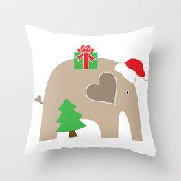 Christmas Elephant Throw Pillow