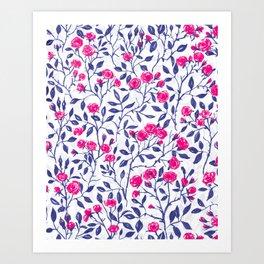 Red rose bush 2 Art Print