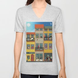 Porto Houses - Portugal Unisex V-Neck