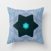 frozen Throw Pillows featuring Frozen by Deborah Janke