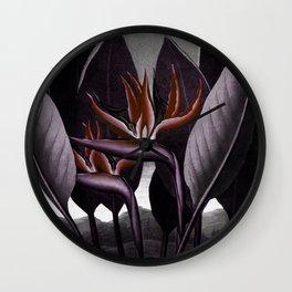 Birds of Paradise : Temple of Flora Dark Wall Clock