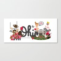 ohio state Canvas Prints featuring Ohio State Love by Sara Riedel