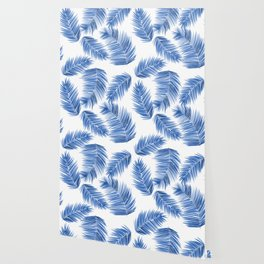 Tropical Palm Leaves - Blue and White Palette Wallpaper