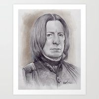 snape Art Prints featuring Alan Rickman as Professor Severus Snape by harrylime