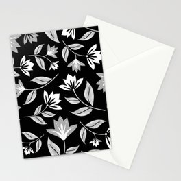 Modern Black and White Floral Print Stationery Cards