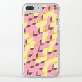 Pixel Cube - Pink Gold Clear iPhone Case