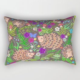 Hegehog fall forest, rainbow flowers and robins Rectangular Pillow