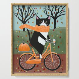 Tuxedo Cat Autumn Bicycle Ride Serving Tray