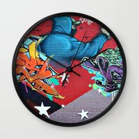 graffiti Wall Clocks featuring graffiti by mark ashkenazi