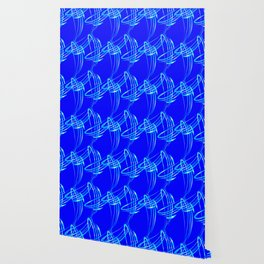 Sparkling pearl blue ice monograms on a blue background. Wallpaper
