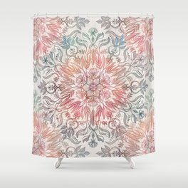 Autumn Spice Mandala in Coral, Cream and Rose Shower Curtain
