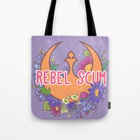 enerjax Tote Bags featuring Rebel Scum by enerjax