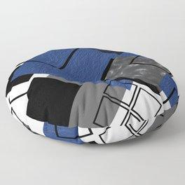 Blue, Gray and Black Geometric Print Floor Pillow