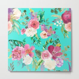 Summer Tropical Floral Bouquet in Turquoise Metal Print