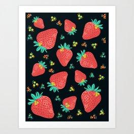 Strawberries | Black Art Print