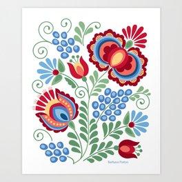 Moravian Folk Design Red Art Print