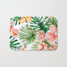 Tropical Jungle Hibiscus Flowers - Floral Bath Mat