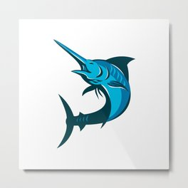 blue marlin fish jumping retro Metal Print